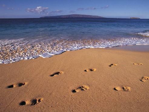 voetstap in het zand